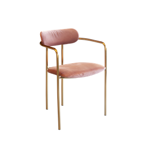 Chaise velours vieux-rose