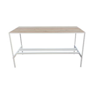 Table oak relevé blanc/chene