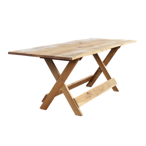 Table pliable chêne arrondi 220x90x75cm