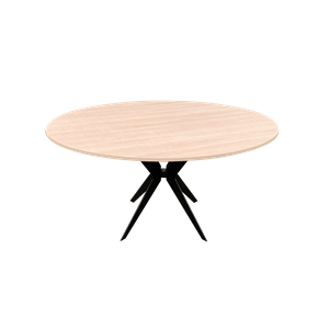 Table Croix - plaque chene dia 150cm INT